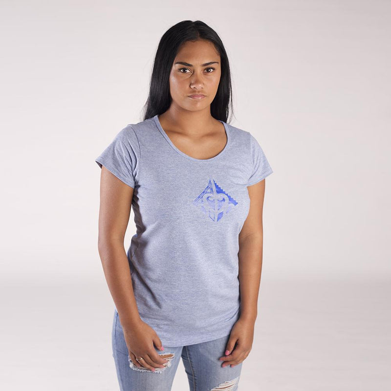 Light blue women's tshirt with pacific blue maori design on the front chest by cravass.