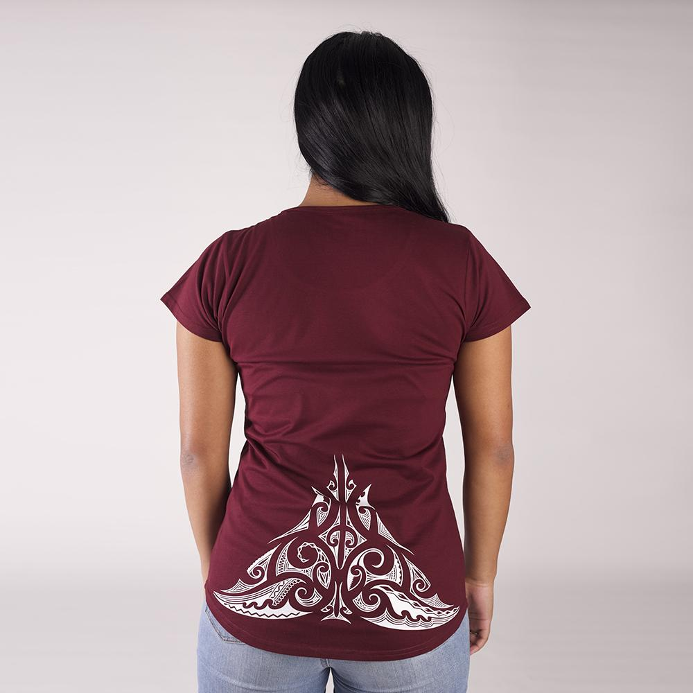 Beautiful burgundy womens tshirt with a white lower back maori design from Cravass