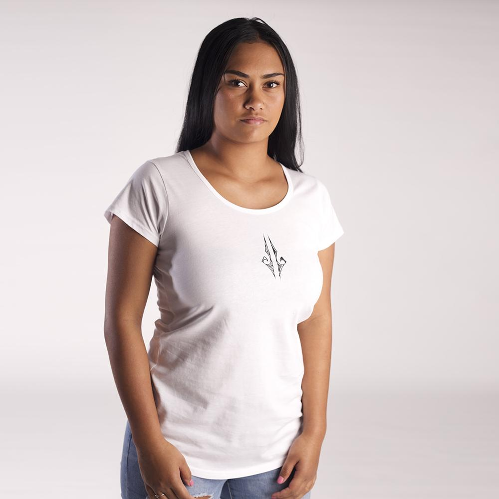 White women's tshirt with black ta moko design on the front chest.