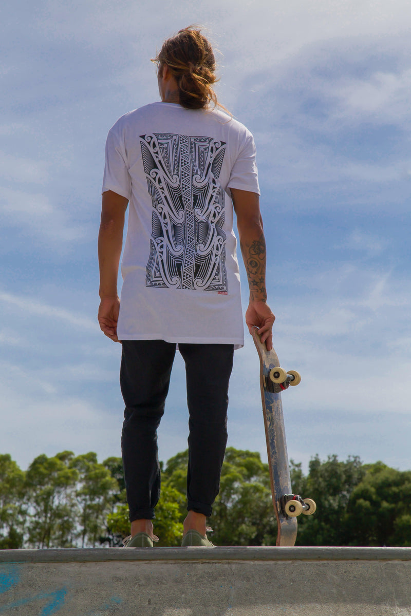 Tapawhā - Black on White Tall Tee