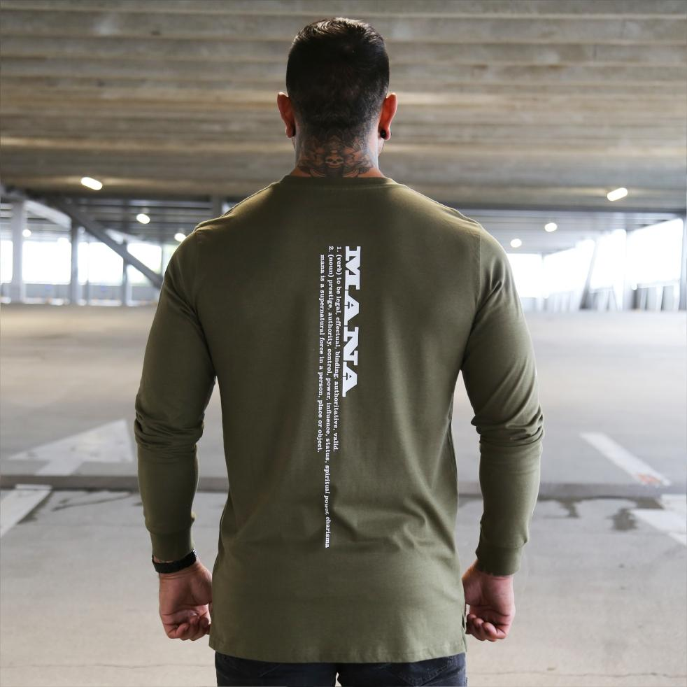 Mens green long sleeve tshirt with the meaning of the maori word mana on the back.