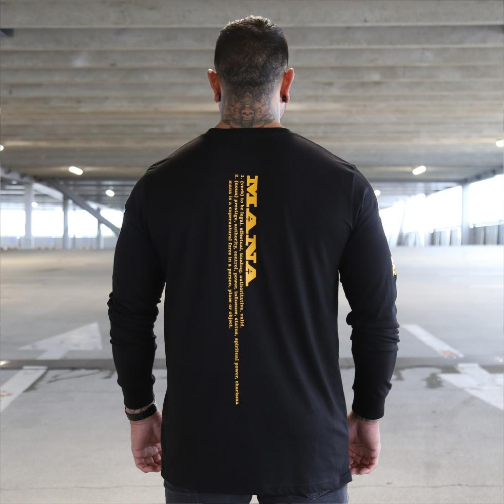 Mens black long sleeve tshirt with yellow Maori design. Meaning of Mana. Back view.