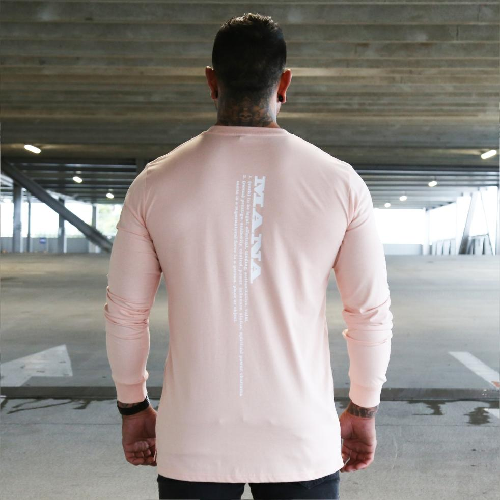 Mens pink long sleeve tshirt with white Maori design. Meaning of Mana. Back view.