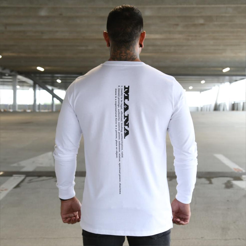 Mens white long sleeve tshirt with black Maori design. Meaning of Mana. Back view.