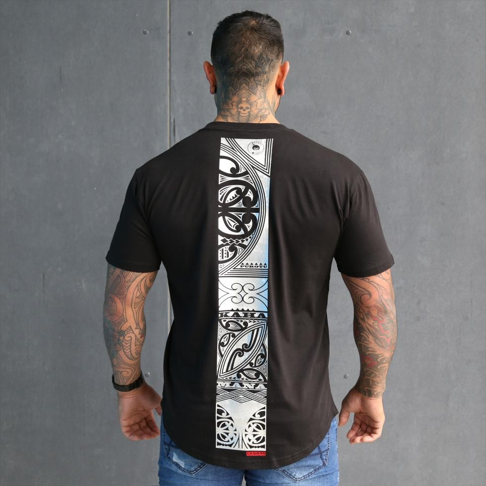 Mens black tshirt with silver maori design. Mana, kaha and purotu incorporated into the back design.