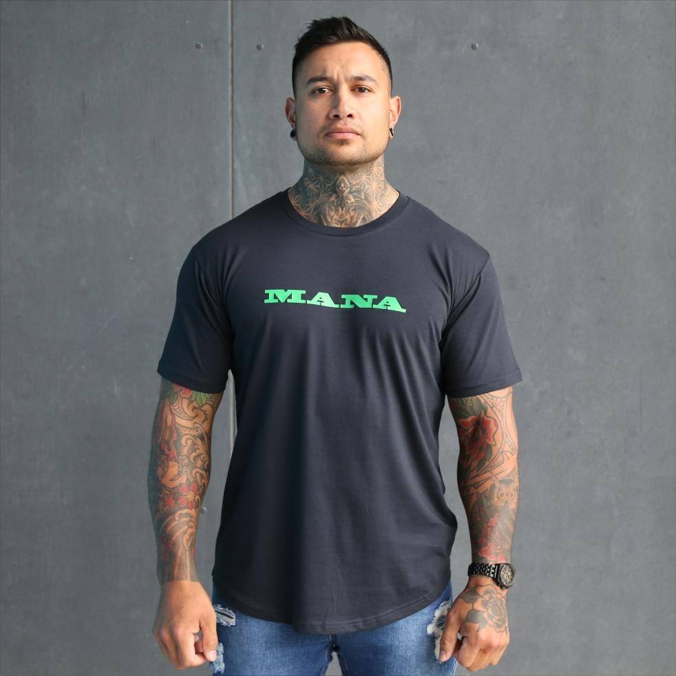 Mens navy tshirt with green maori design with the words Mana, Kaha and purotu incorporated. Front