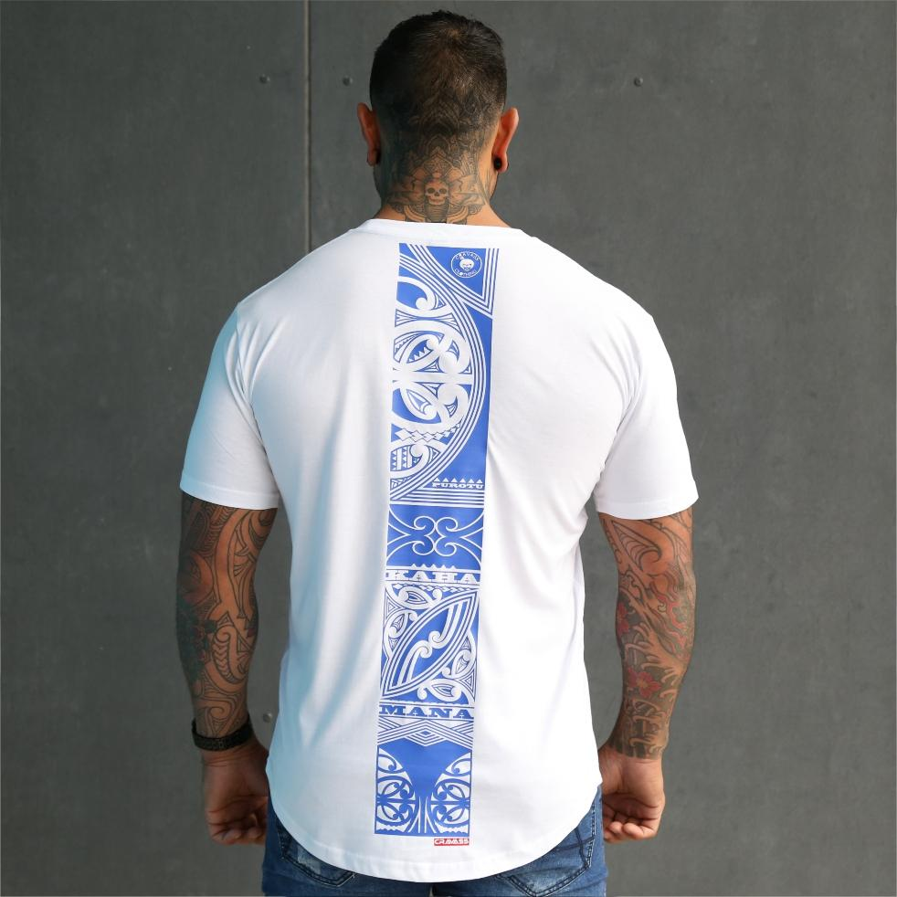 Mens white tshirt with large maori design down the back. Mana, Kaha and Purotu.