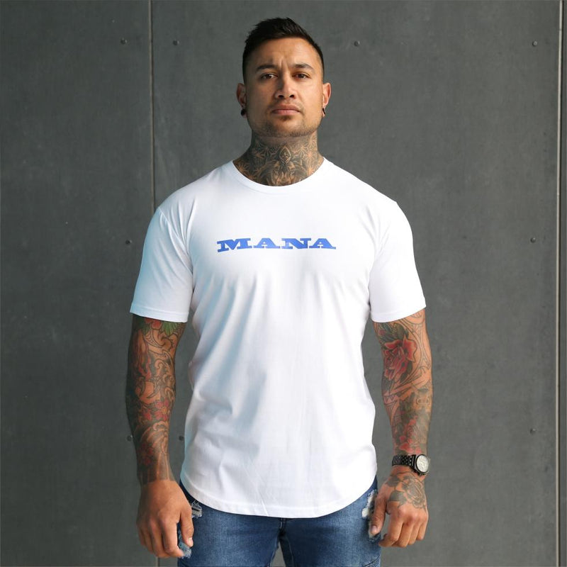 Mens white tshirt with the word Mana on the front. Maori clothing.