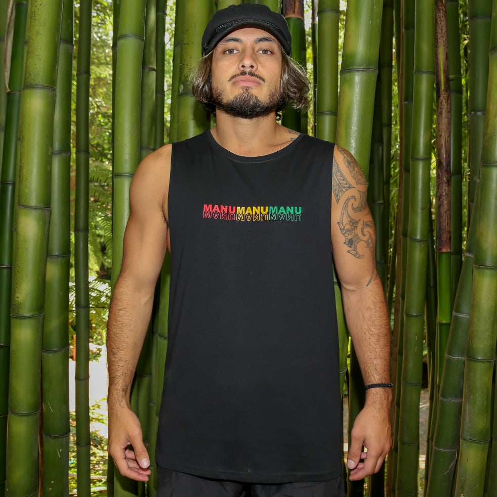 Men's black singlet with rasta colour design Manu manu manu 3 little birds from Bob Marley