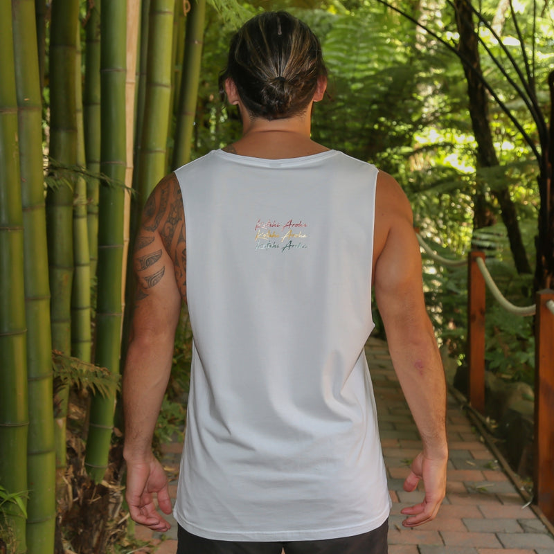 Men's white singlet with rasta colour design Manu manu manu 3 little birds from Bob Marley - back