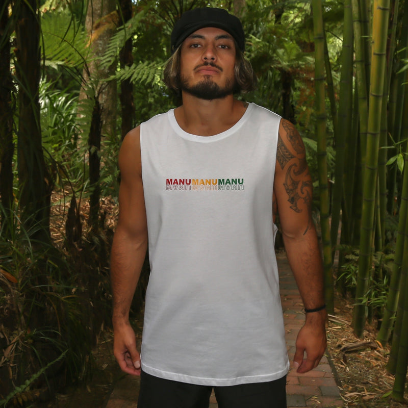 Men's white singlet with rasta colour design Manu manu manu 3 little birds from Bob Marley