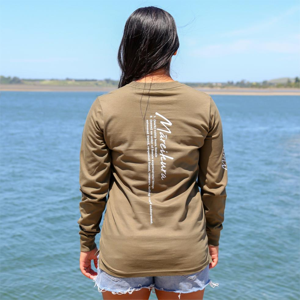 Women's army green long sleeve tshirt with the meaning of the maori word Mareikura. Back view