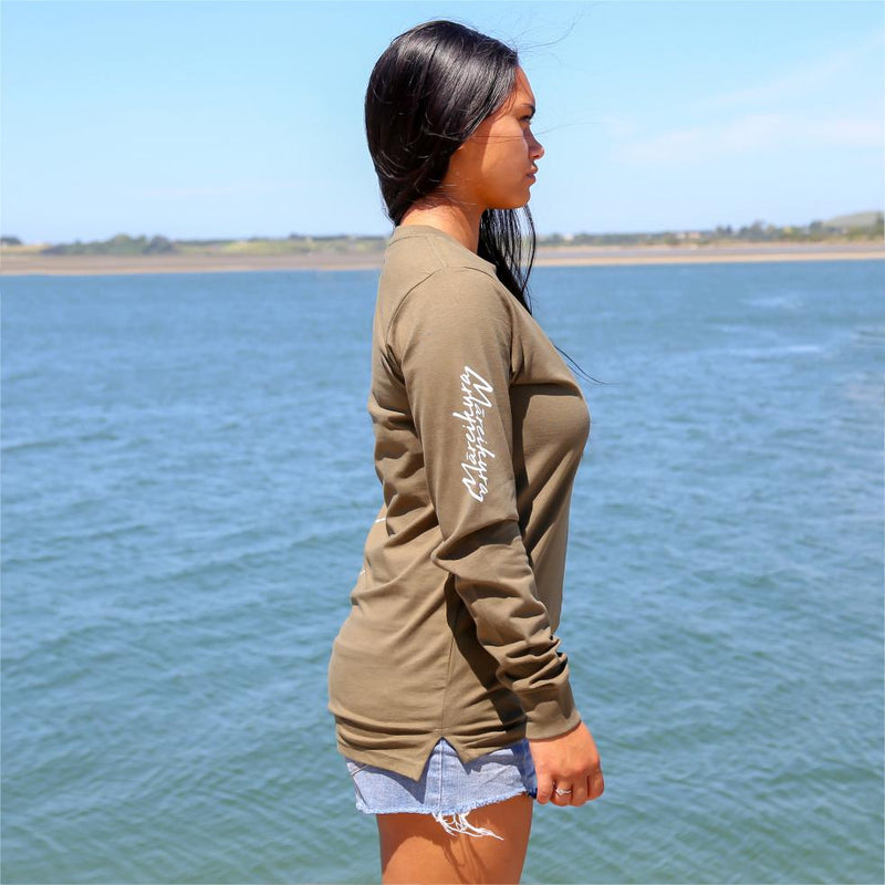 Women's army green long sleeve tshirt with the meaning of the maori word Mareikura. Side view