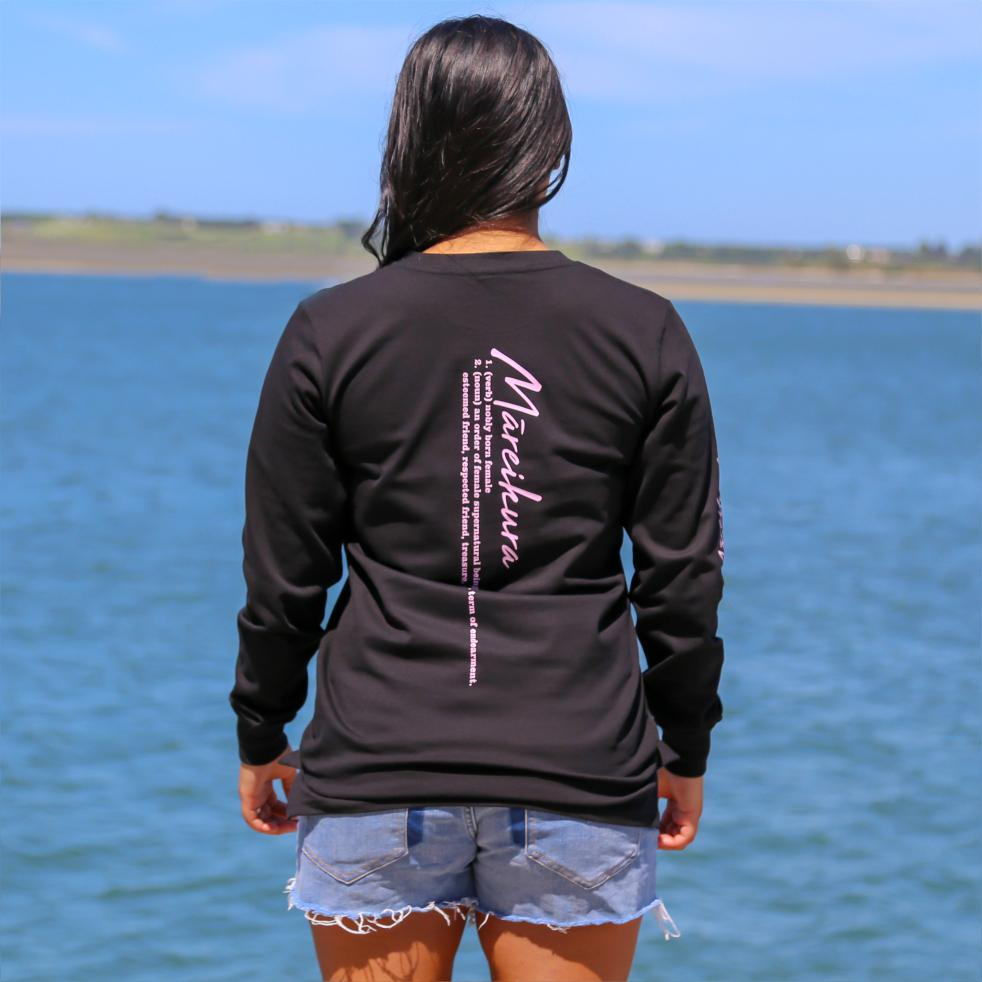 Women's black long sleeve tshirt with the meaning of the maori word Mareikura. Back view