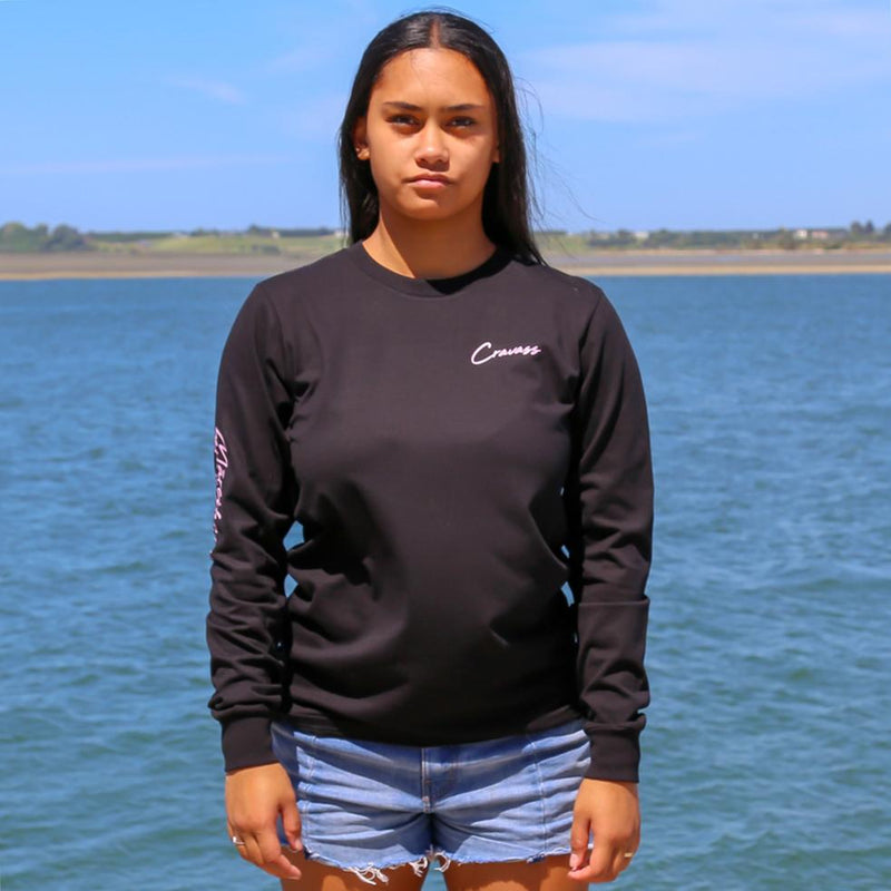 Women's army green long sleeve tshirt with the meaning of the maori word Mareikura. Front view