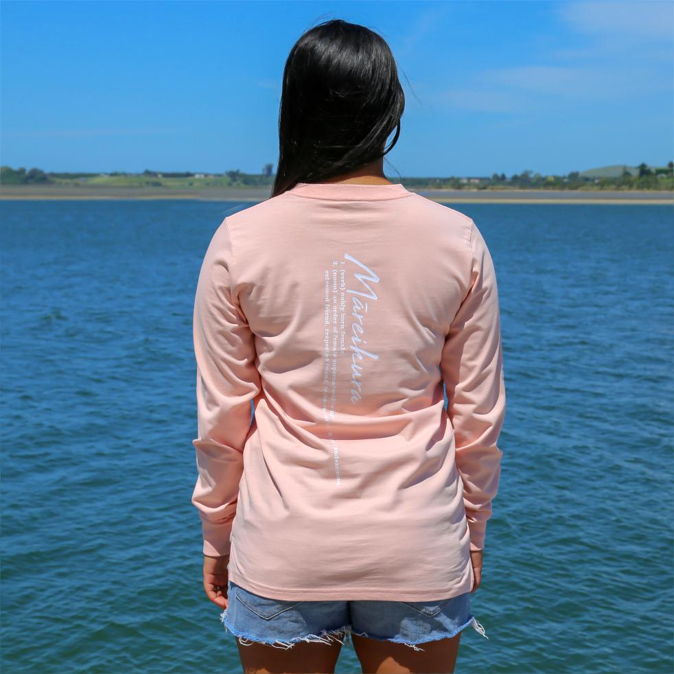 Women's pink long sleeve tshirt with the meaning of the maori word Mareikura. Back view