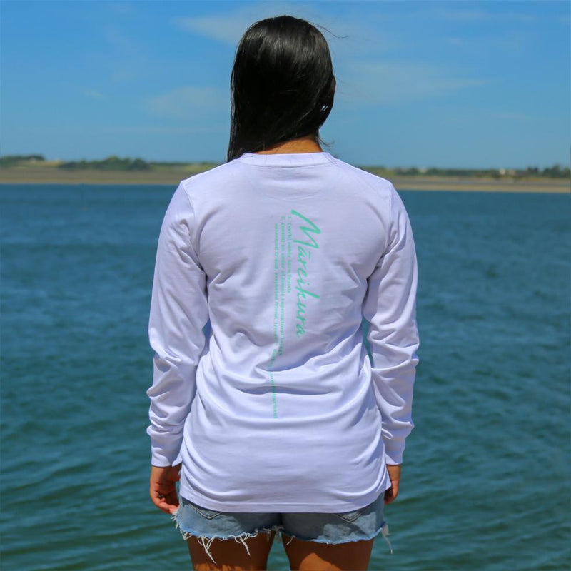 Women's white long sleeve tshirt with the meaning of the maori word Mareikura. Back view