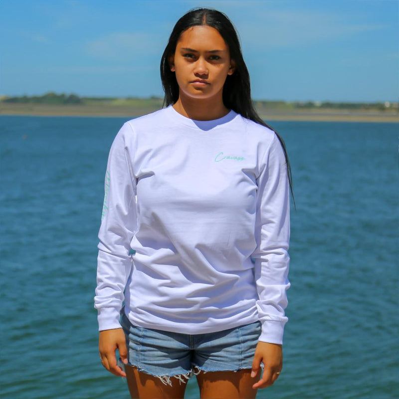 Women's white long sleeve tshirt with the meaning of the maori word Mareikura. Front view