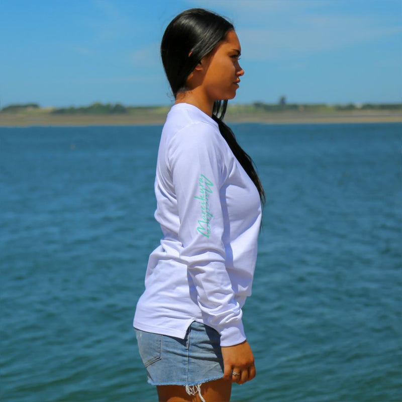 Women's white long sleeve tshirt with the meaning of the maori word Mareikura. Side view