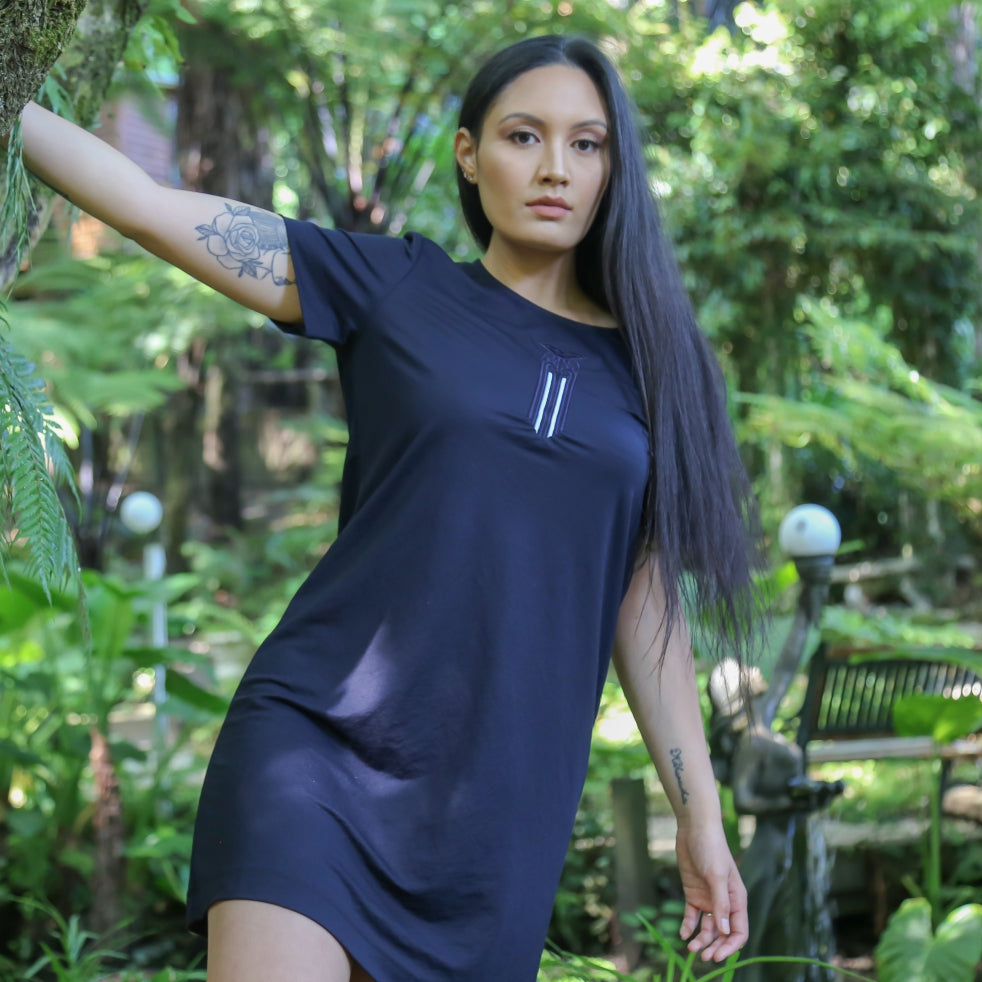Beautiful women's navy blue dress with matching navy blue and white Moko Kauae Maori design. NZ Fashion