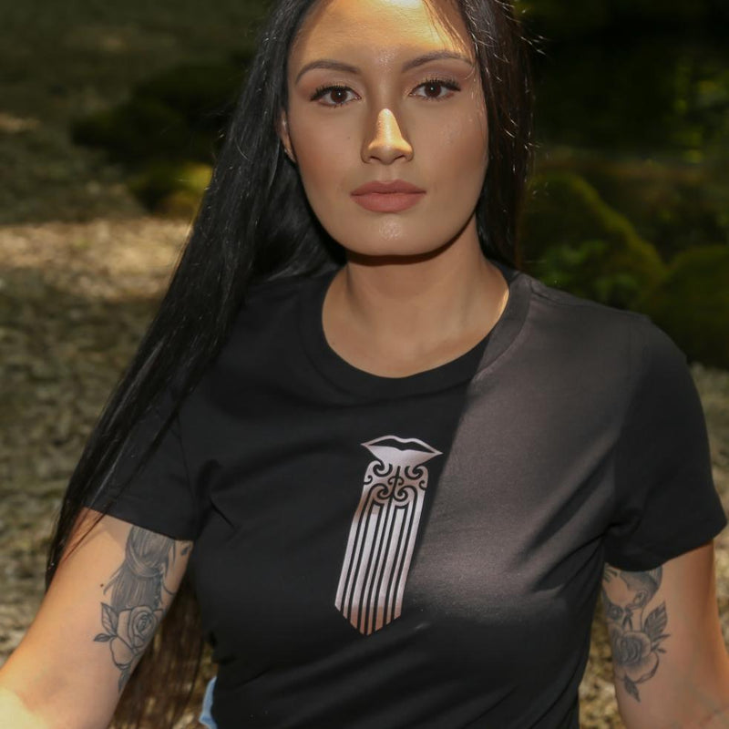 Women's black t shirt with Maori Moko Kauae design, front chest.