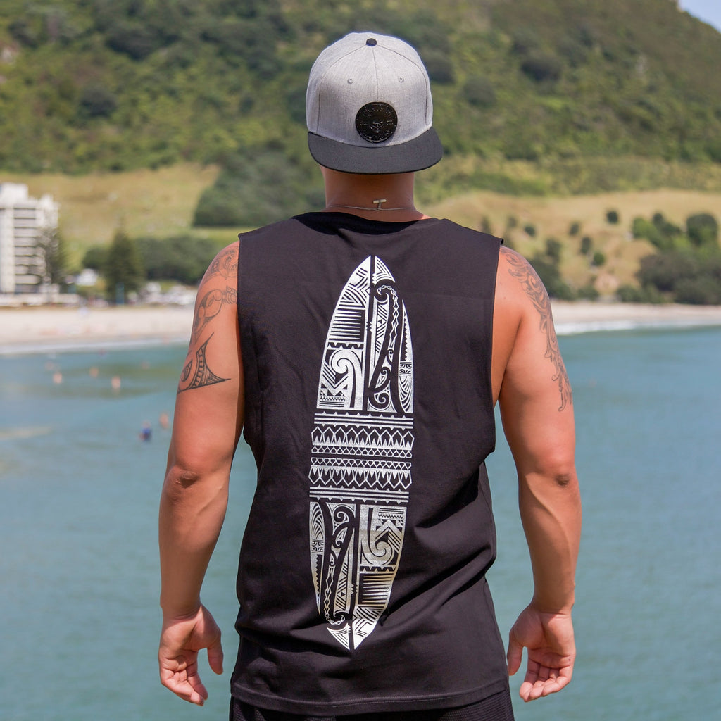 Cravass black tank top with silver Polynesian Maori design down the back