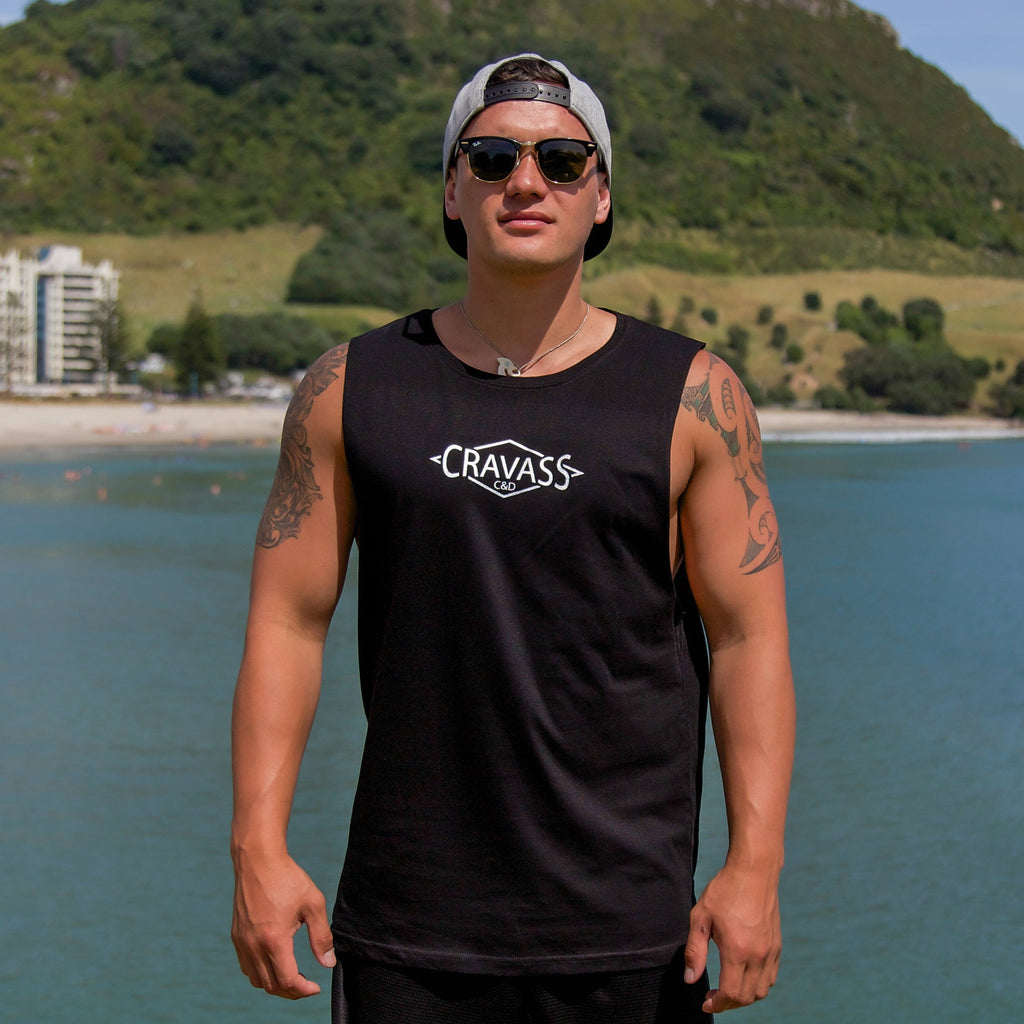 Cravass Black tank top (front) with Silver Polynesian Maori design down the back.