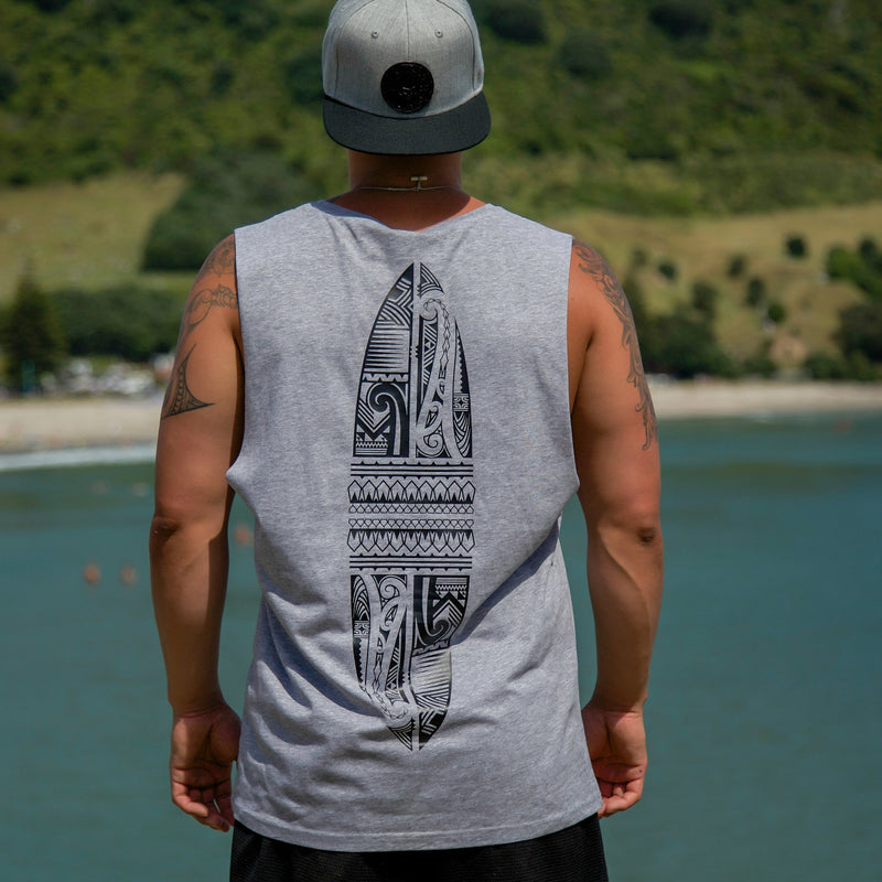 Cravass grey tank top with black Polynesian Maori design down the back