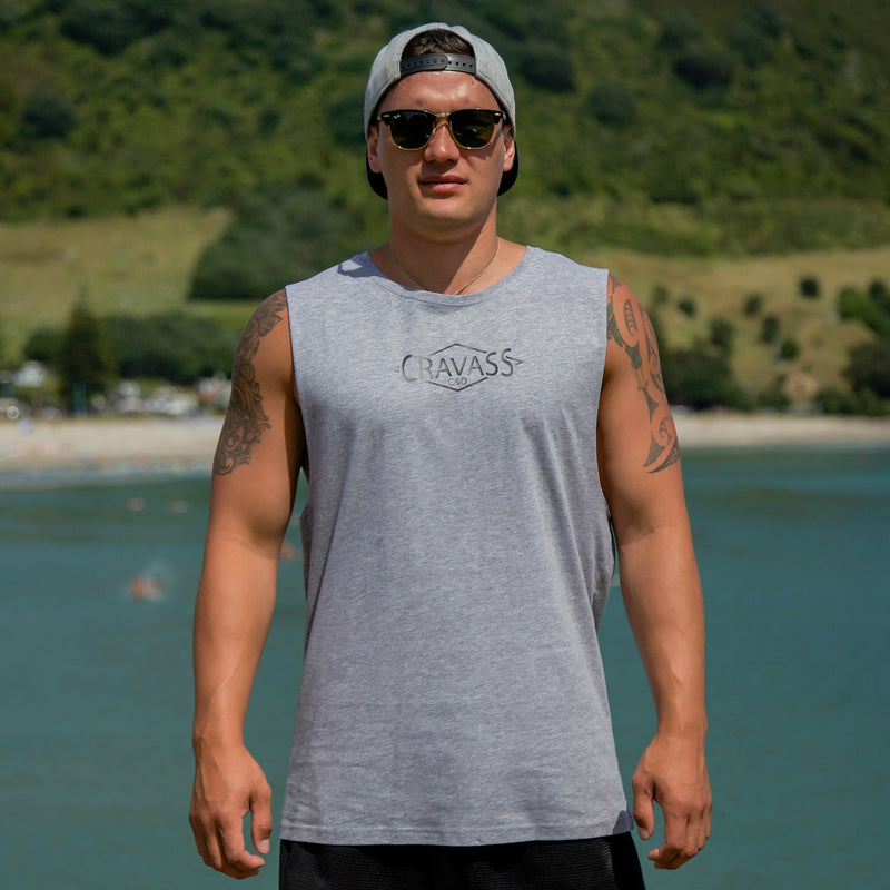Cravass grey tank top with black Polynesian Maori design down the back.