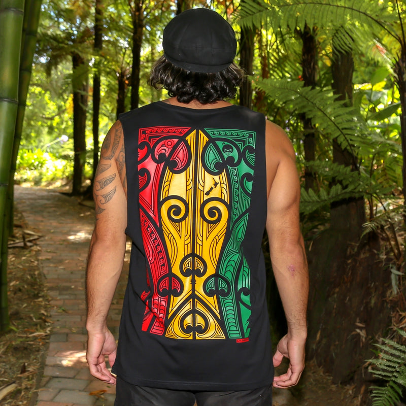Men's black singlet with large Rasta coloured Maori design from Cravass clothing. Back view.