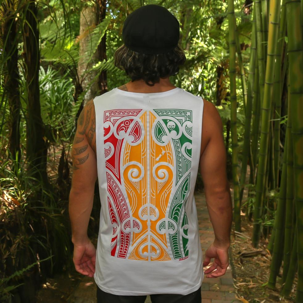 Men's white singlet with large Rasta coloured Maori design from Cravass clothing. Back view.