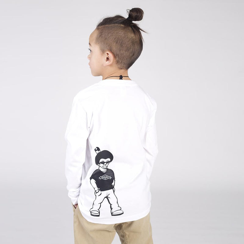 Children's white long sleeve tshirt with a maori cartoon character