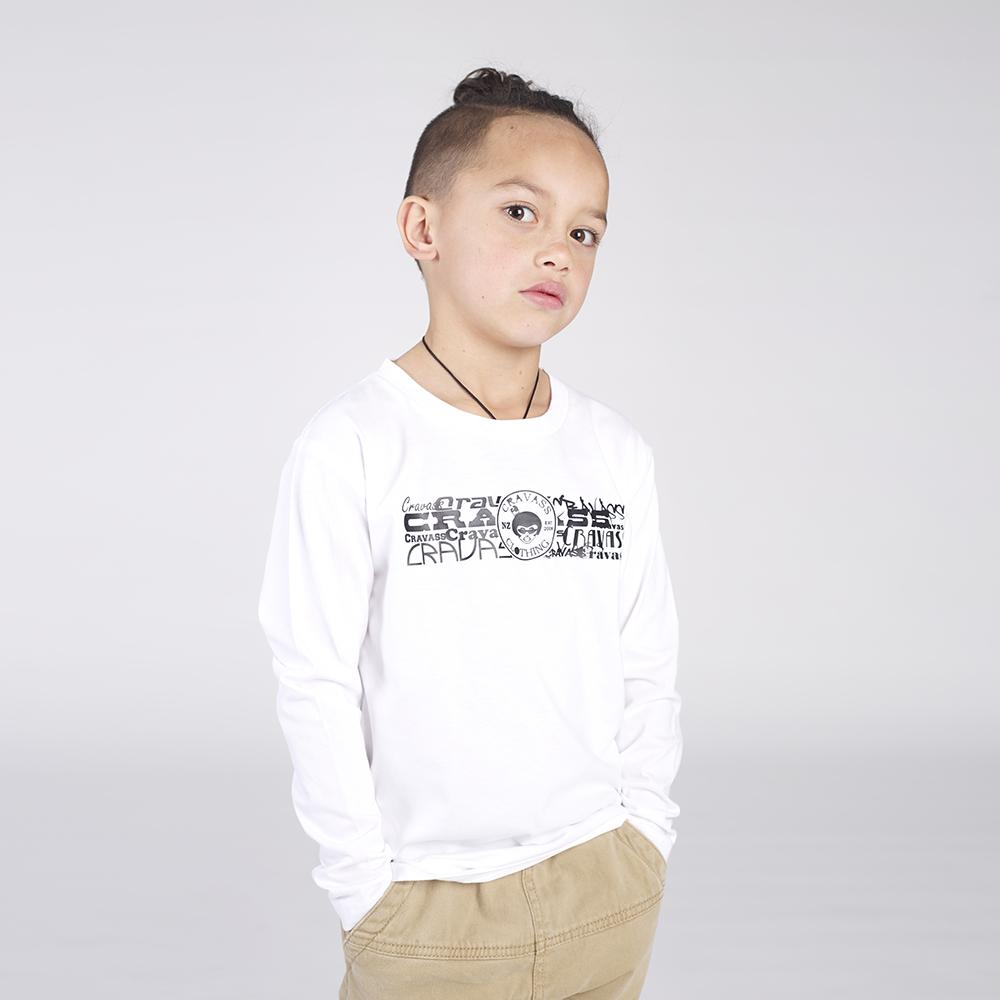 White childrens long sleeve tshirt with black graffiti cravass logo on the front.