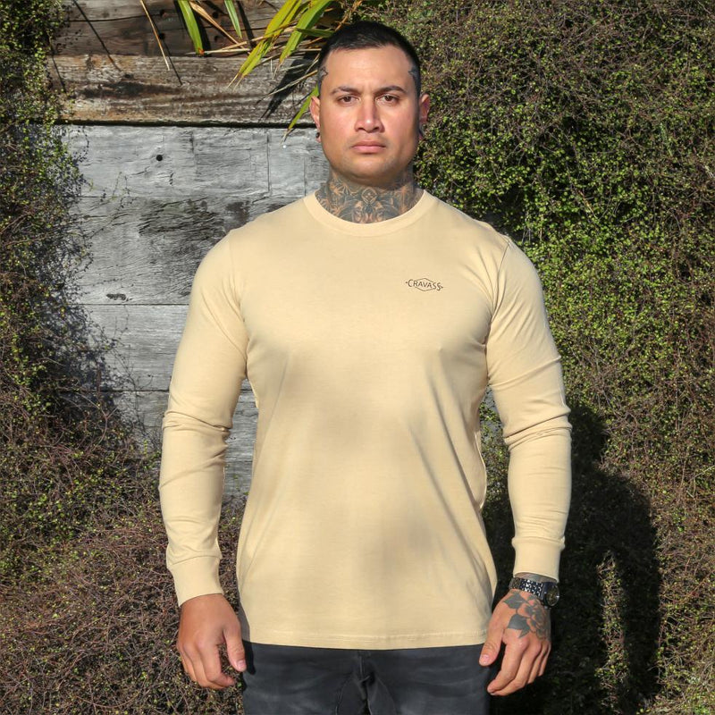 Tan Long sleeve tshirt with maori design on the back from cravass clothing