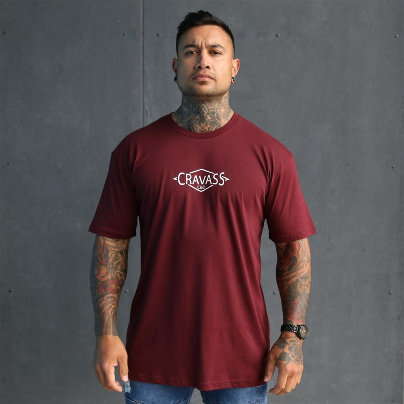Mens tshirt with white design on a awesome burgundy tshirt, New Zealand streetwear. Front view.