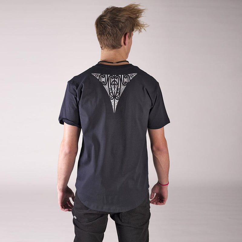 Mens navy blue drop tee with white tapatoru maori design on the back.