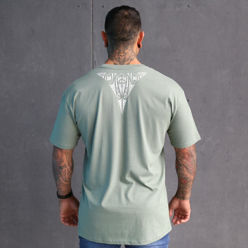 Mens sage coloured tshirt with white triangle maori design on the back. Maori clothing