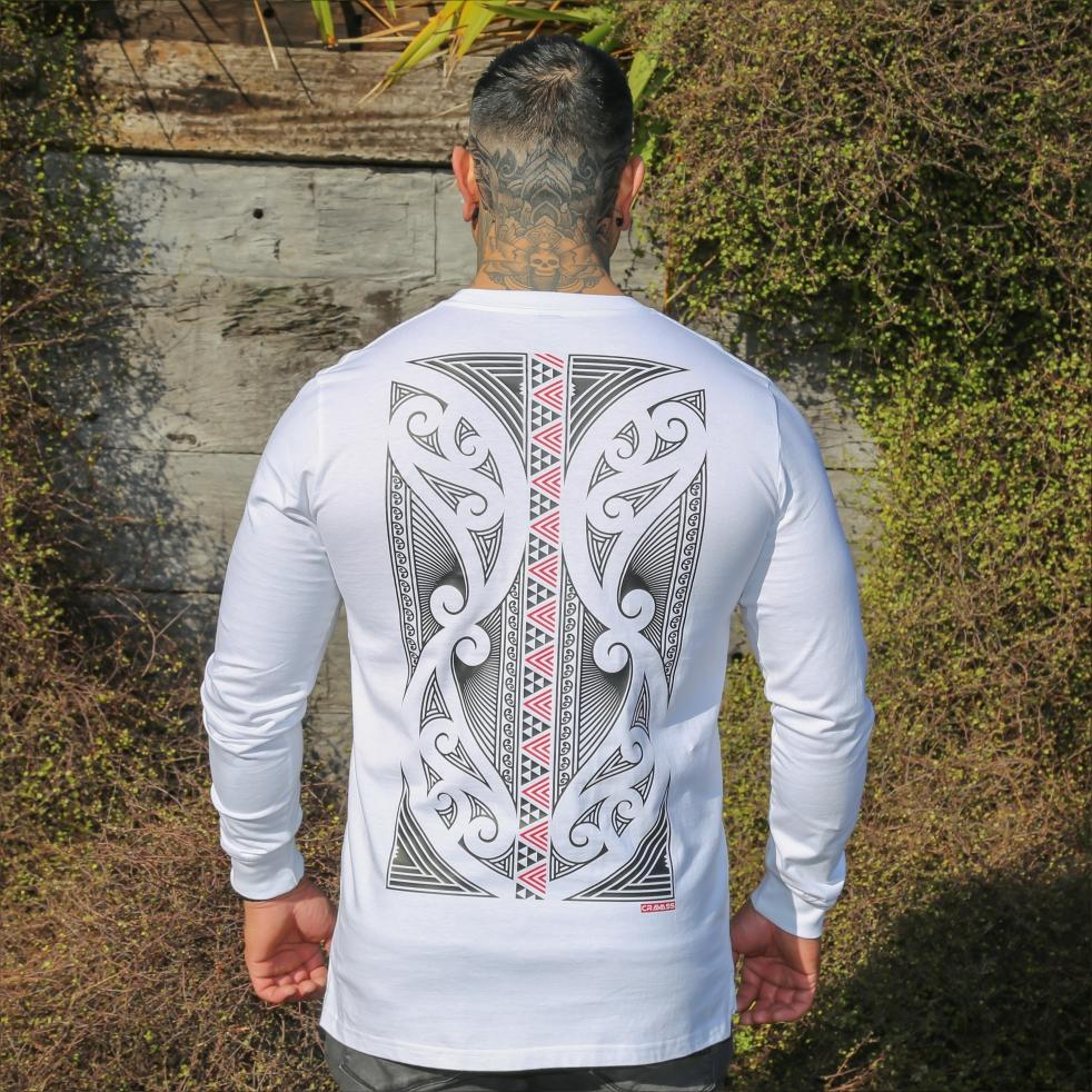 Mens tshirt with red and black maori design from Cravass clothing NZ