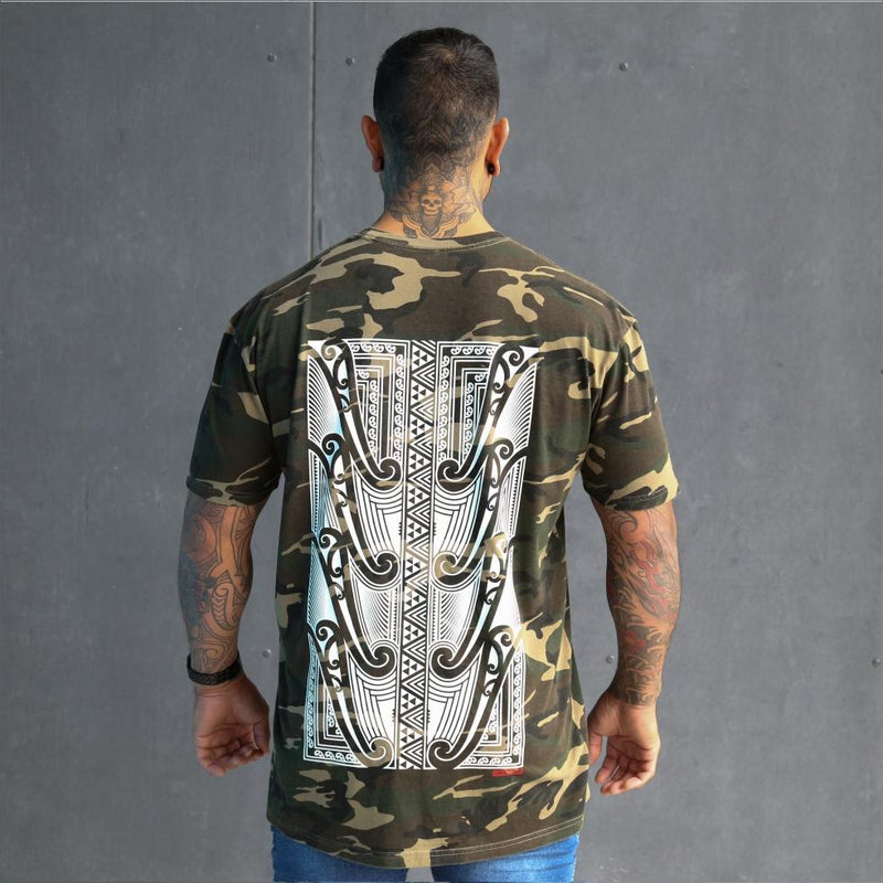 Mens camo tshirt with large maori back design. Original maori clothing. Back view