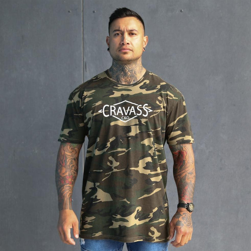 Mens camo tshirt with large maori back design. Original maori clothing. Front view