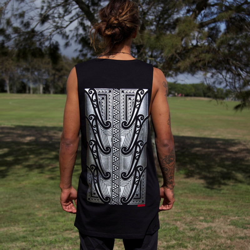 Original Maori artwork in Stunning silver on Black Tall Tank-top/Singlet.