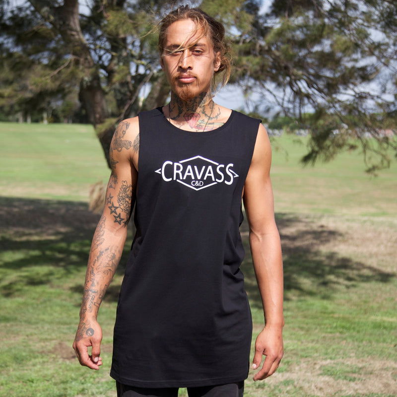 Front image of Original Maori artwork in Stunning silver on Black Tall Tanktop/Singlet.