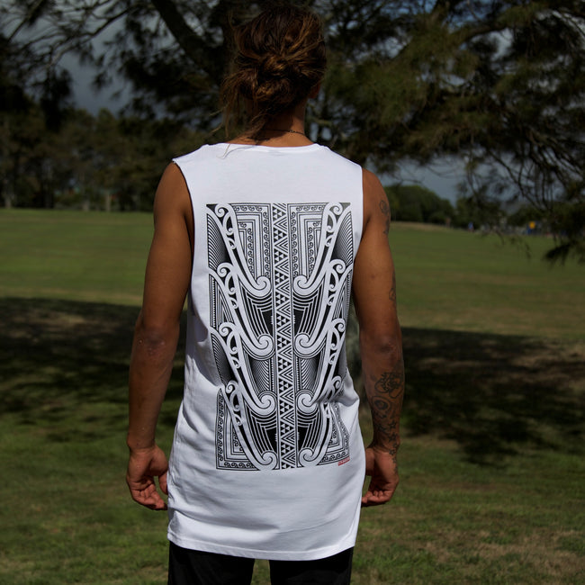 White tank-top / singlet with a black original Maori artwork design on the back.