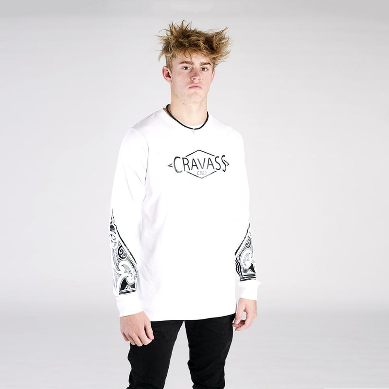 Mens white long sleeve tshirt with black NZ maori ta moko forearm design