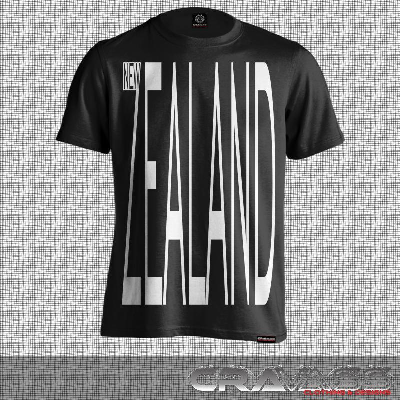 Black tshirt with large New Zealand design