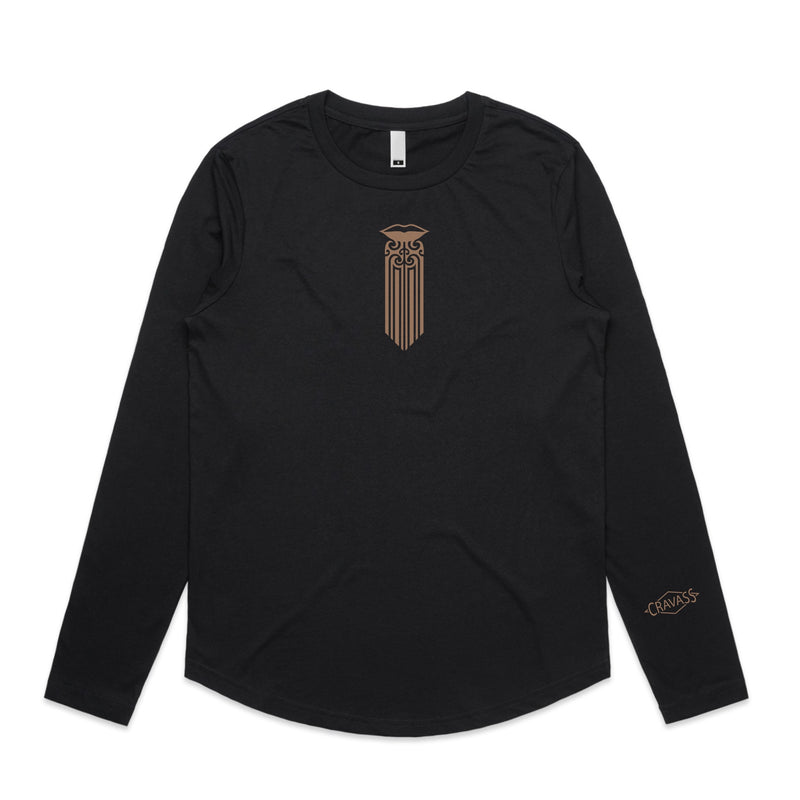 Women's black longsleeve T-shirt with Mocha brown Maori Moko Kauae desige.