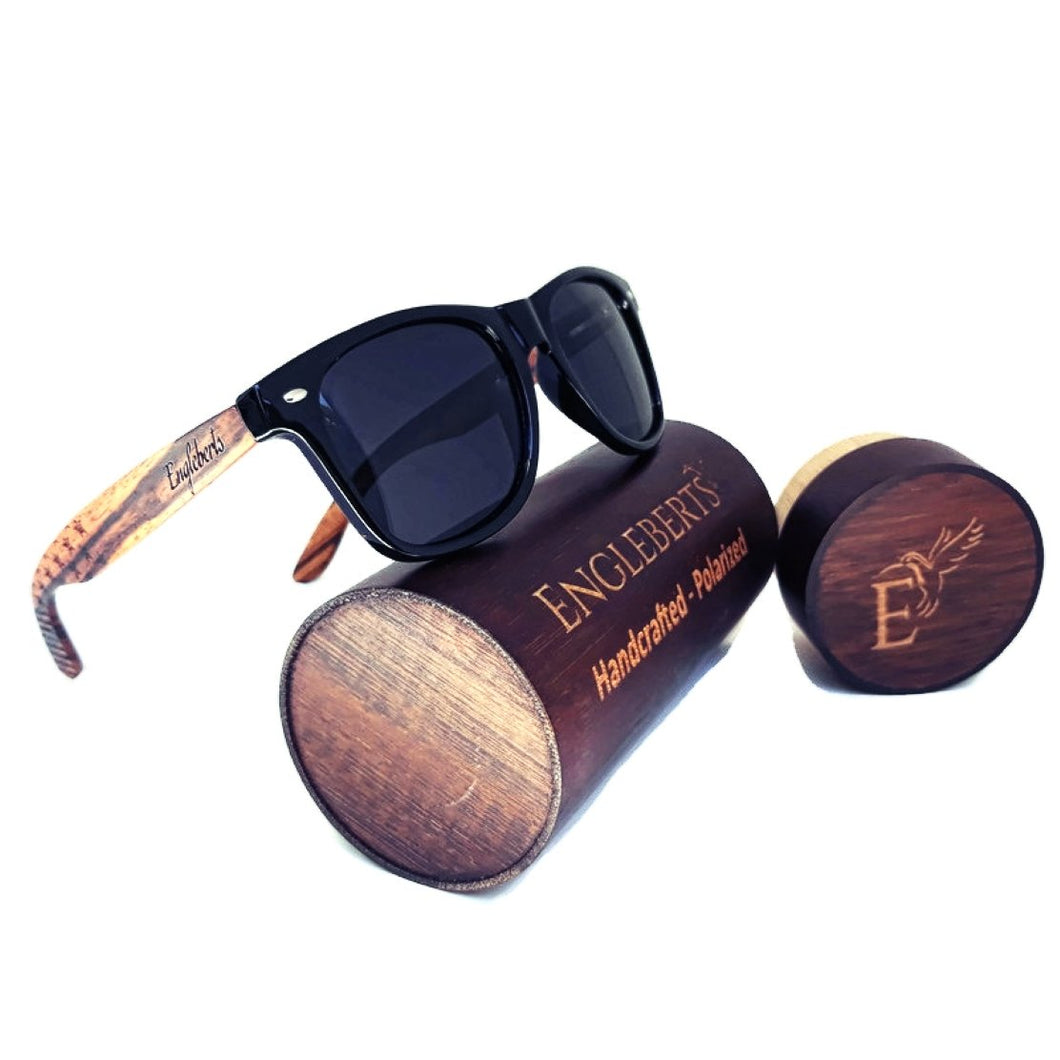 Zebrawood Stars and Stripes Polarized Sunglasses With Wooden Case- *Only Ships Within USA*