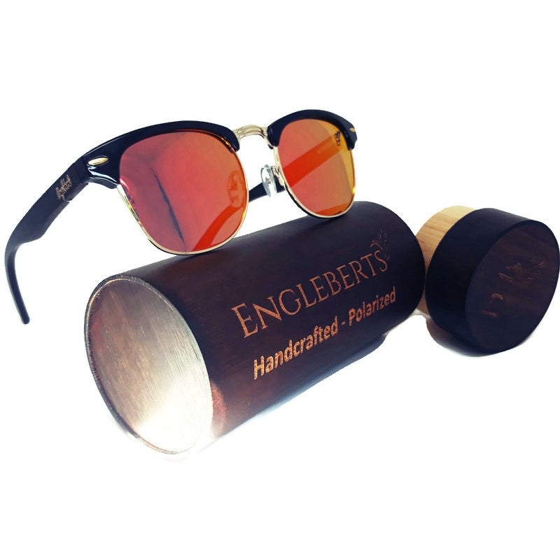 Sunset Polarized Sunglasses, Black Bamboo With Case - *Only Ships Within USA*