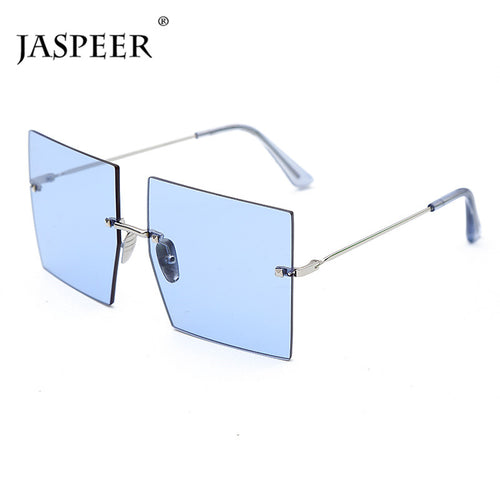 US Warehouse: Women's Oversized Rimless Trendy Fashion Square Sunglasses. UV400.