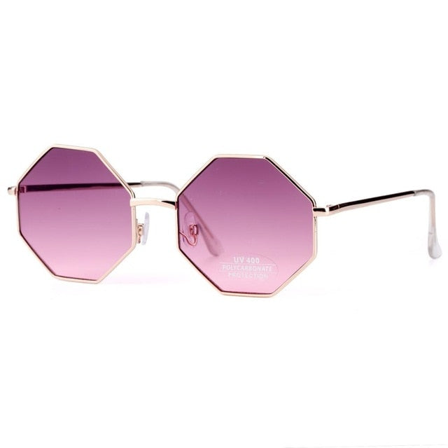 US Warehouse: Women's Fashion Metal Frame Polygon Clear Lens Sunglasses. UV400